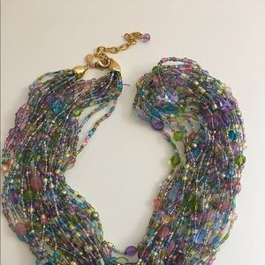 Joan Rivers 12 strand Torsad Glass Beaded Necklace